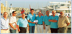 Roland and other Malta-Sicily Windsurf Race committee members in 2004 when a special race was held '20 Years After' which was used as a platform to raise funds in aid of the Park of Friendship (Ir-Razzett Tal-Hbiberija)